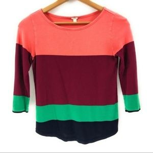 J. Crew Womens 3/4 Sleeve Colorful Top, XS